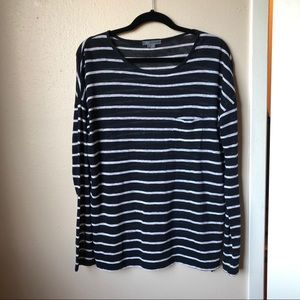 Vince Linen Striped Slouchy Pocket Tee